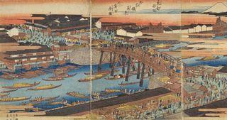 X広重_東都名所_日本橋真景並びに魚市全図